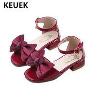 New Children Sandals Summer Girls Sandals High heeled Shoes Princess Baby Bowtie Gladiator Student Patent Leather Kids Shoes 02