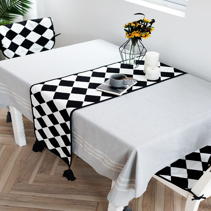 100 Cotton Black White Plaid Check Geometry Table Mat