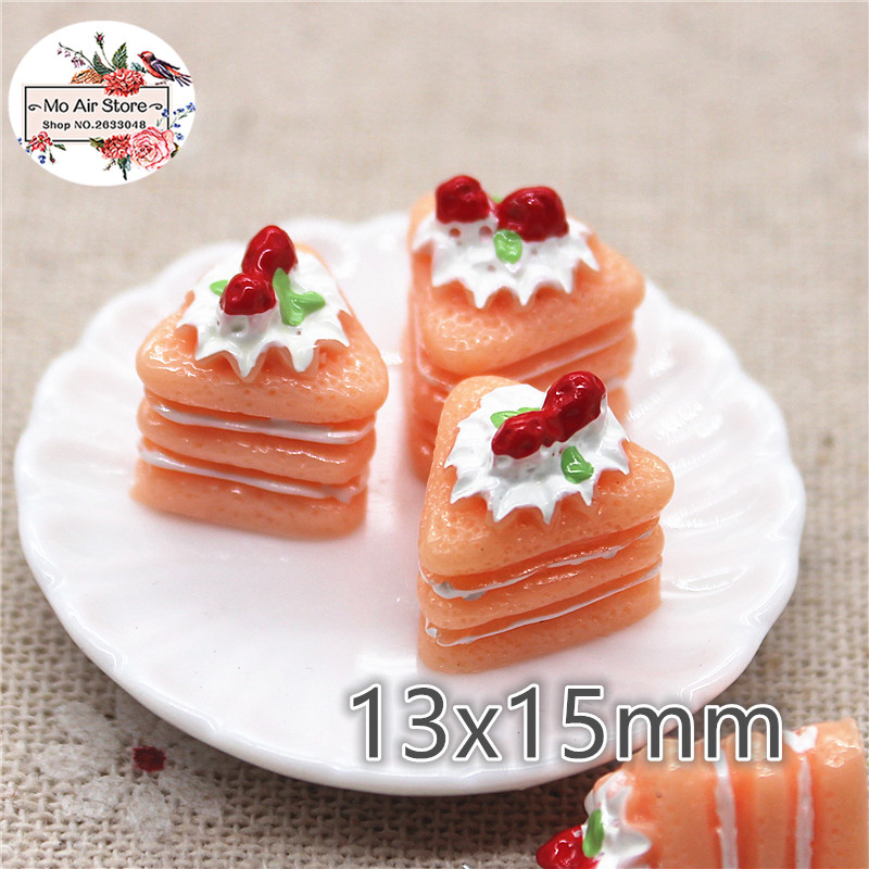 10pcs Resin 3D Pink Strawberry Cake Cabochon Miniature Food Art Supply Decoration Charm DIY Craft