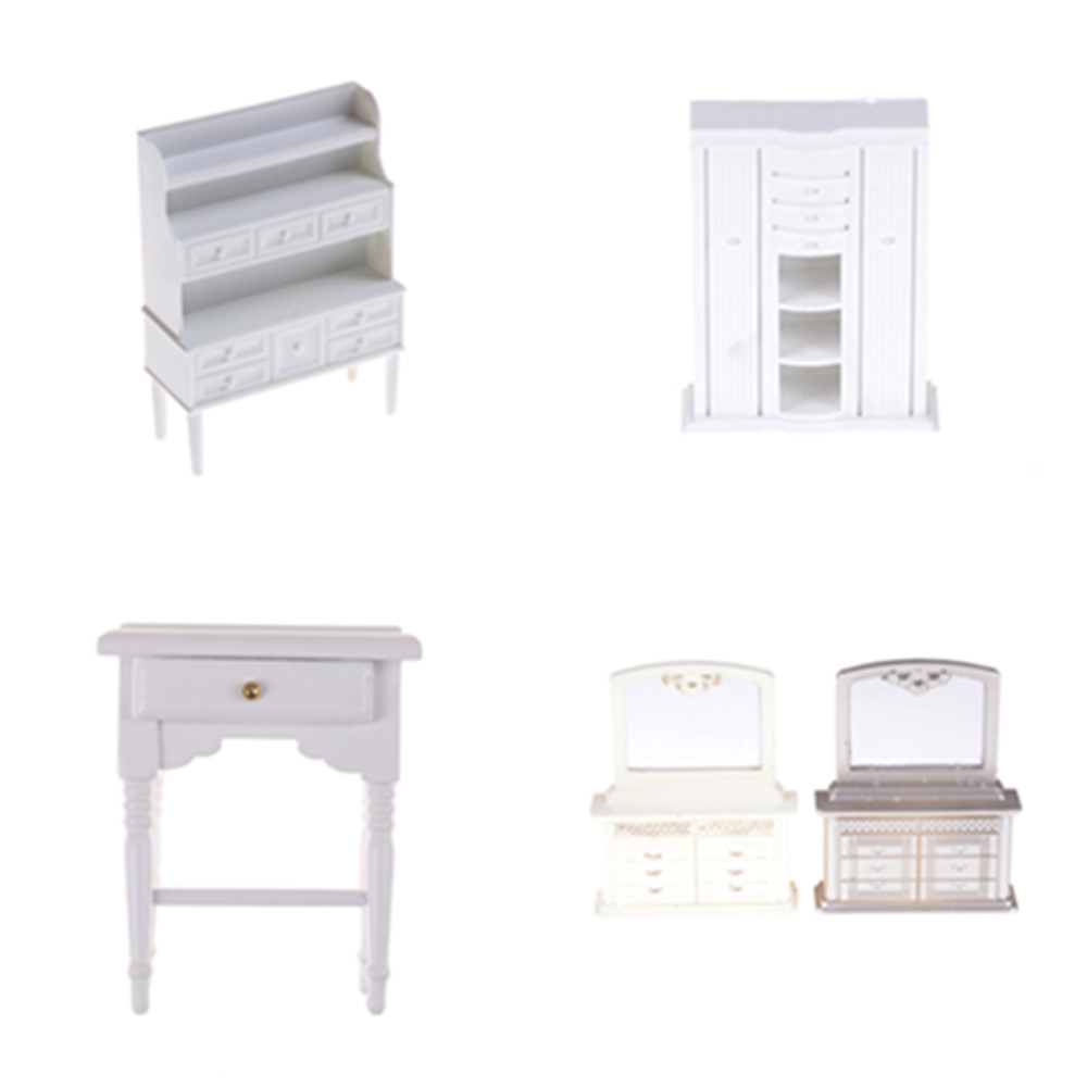 Mini Cabinet Model Chest Cupboard Shelf White Cabinet Kitchen Dining Display Display Doll House Kitchen Dollhouse Accessories
