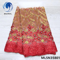 BEAUTIFICAL africa lace high quality red lace fabric nigerian latest lace fabric 2019 hot products 5 yards/lot selling ML5N358
