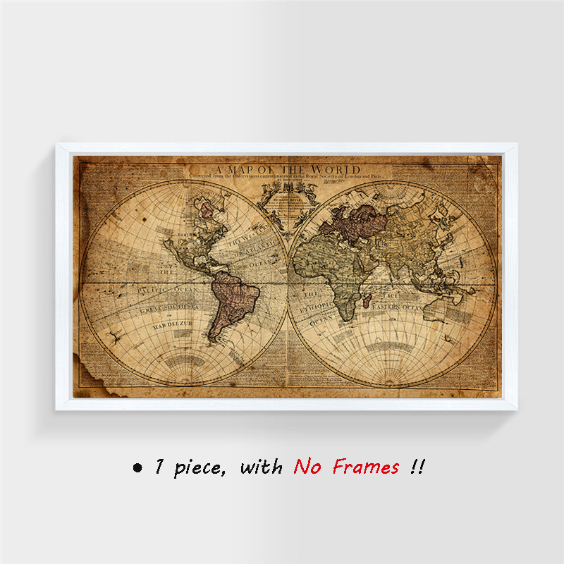 Picture Art Globe Atlas Map of the World Vintage Style Large Framed Print