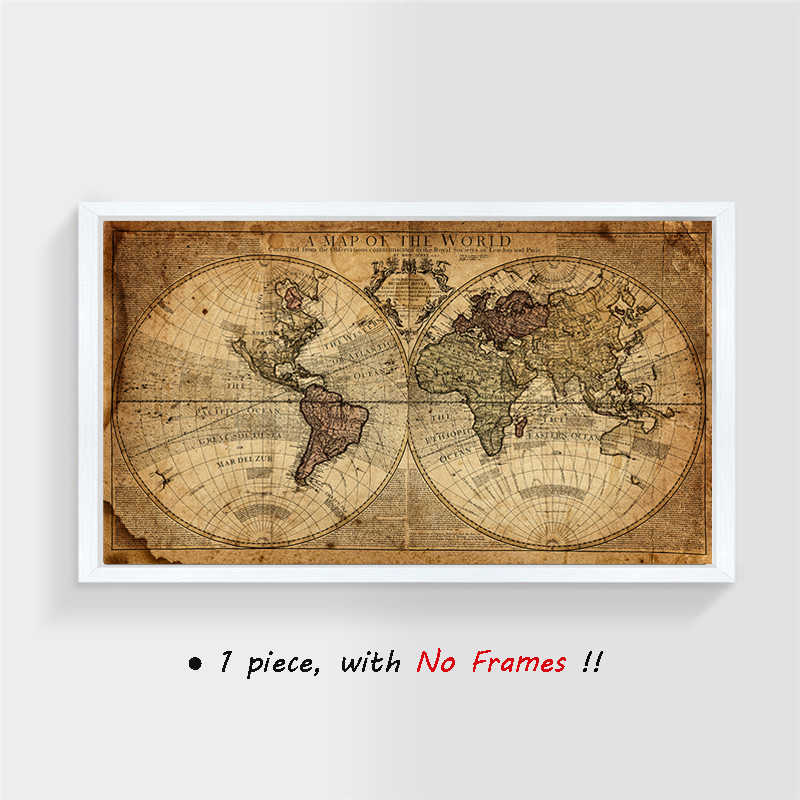 Detail Feedback Questions about (No Frame) Vintage World Map Canvas ...