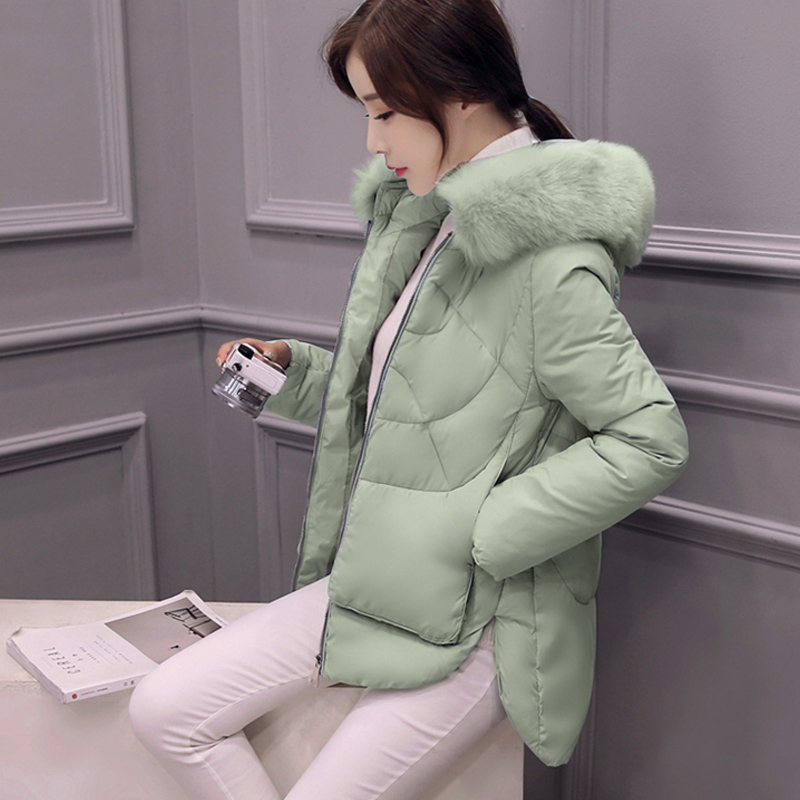 Winter Jacket Women Fur Collar Down Female Cotton-Padded Jackets Thickening Women Winter Coat