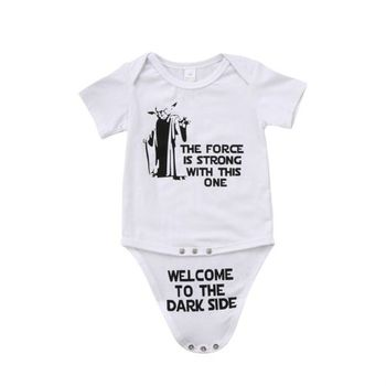 Newborn Kids Baby Boy Girl Funny Jumpsuit Bodysuit Clothes Outfits Print Letter Daily Toddler Infant Girls Boys Bodysuits  0-18M girl