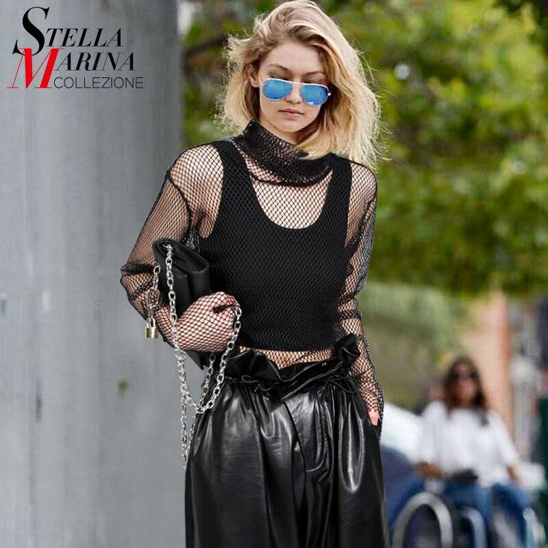 2017 Del Verano Mujeres del Estilo Largo de Malla Top Sexy Camisa de La Blusa Ne