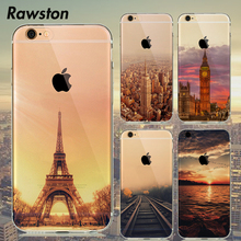 Beautiful Design Silicone Clear Case Cover for Coque iPhone 7 6s 6 S 5s 5SE Eiffel Tower New York Empire Building Deer