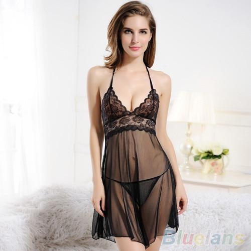 6db0d649b New Style Women s Lace Sheer See-Through Lingerie Sexy Nightwear Underwear  Sleepwear Dress + G-string Set