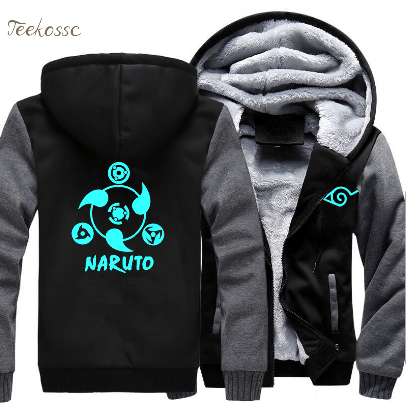 Japanese Anime Naruto Jackets Night Lights Luminous Men 2018 Winter Warm Mens Sweatshirt Zipper High Quality Hoodies Hoodie Coat