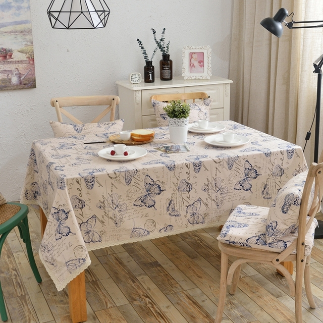 Butterfly Tablecloth 100% Cotton Dinner Table Cloth Insect Macrame  Decoration Lacy Table Cover Machine Washable