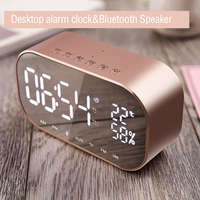 LED Alarm Clock with FM Radio wireless Bluetooth Speaker Support Aux TF USB Music Player for Office Home 2018 Digital Clock