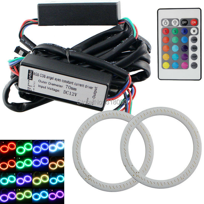 RGB Angel Eyes 70MM 2Pieces(1pair) Halo Rings Eye 12V Headlight 70mm 72 SMD Car Motorcycle With 24 Keys Controller