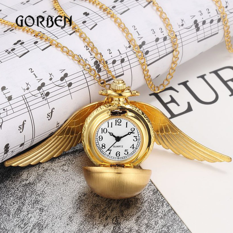 Pocket clock Mini Golden Snitch Pocket Watch Gift Box Luxury Wings Ball Vintage fob Necklace With Chain Pendant Relogio De Bolso vintage bronze steampunk snitch ball quartz pocket watches with pendant necklace chain children kids best xmas gift