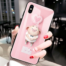 For iPhone XS Max XR X 8 7 6 6s Plus Cute Piggy Couple Back Tempered Glass Case Protective Phone Back Cover Shell unique skull couple pattern protective plastic back case for iphone 5 red black