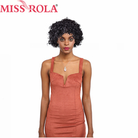 Miss Rola Remy Hair Wigs Kinky Curly Pre Colored 1B# Human Hair Short Wigs Free Shipping