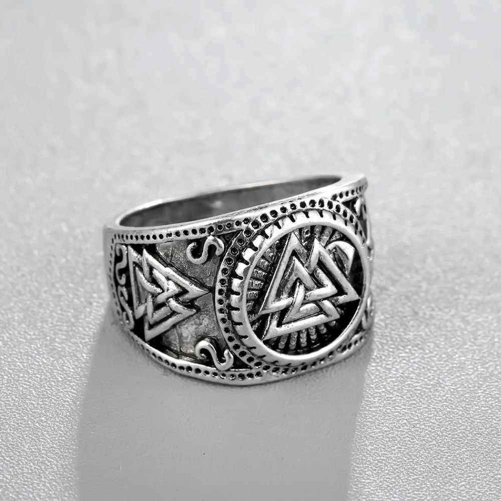 Chengxun Viking Bulat Besar Lebar Cincin Jari Pria Hitam Silver Fashion Valknut Grosir Vintage Perhiasan 15 Mm