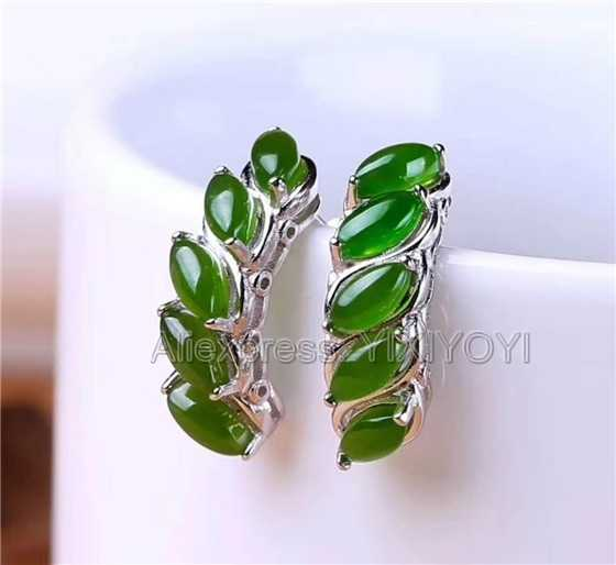 925 Sterling Silver Green HeTian Jade Oval Beads Inlay Flower Design Lucky Ear Earrings Girl's Charm Gift Fine Jewelry