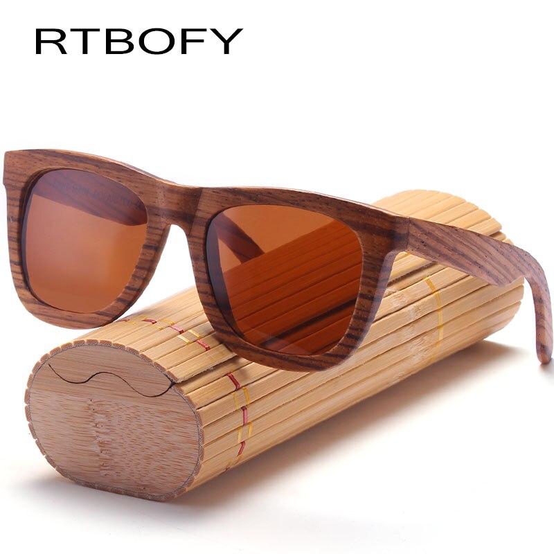 RTBOFY lunettes de soleil en bois hommes lunettes polarisées cadre en bois zèbre lunettes Design Vintage Protection UV400 avec boîte en bambou