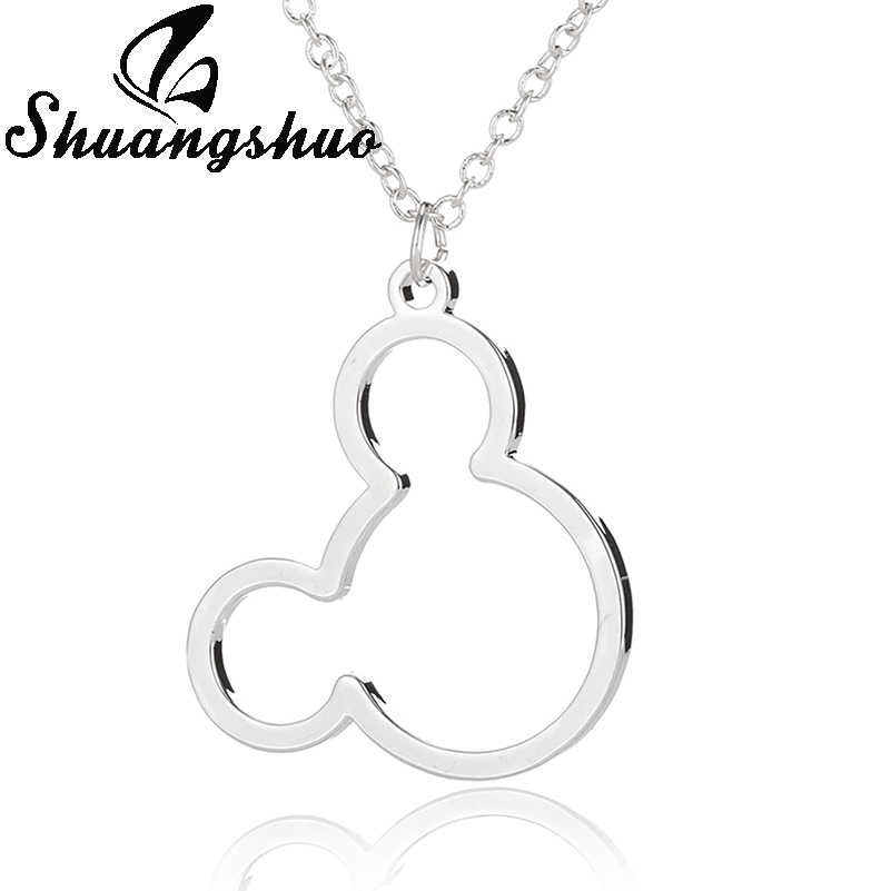 Shuangshuo Collier argent femmes souris Mickey Collier pendentifs Animal Mickey Choker en acier inoxydable colliers Collier Femme
