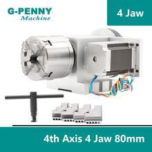 מכירה! 80mm 4 לסת CNC 4th ציר CNC חלוקת ראש/סיבוב 6:1 ציר/ציר ערכת מיני CNC נתב/חרט נגרות חריטה