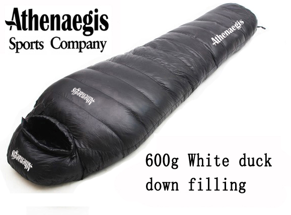 Athenaegis 600G white duck down filling can be spliced mummy ultra-light camping sleeping bag