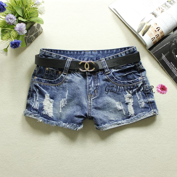 2019 Summer Blue Women's Denim   Shorts   Low Waist Hole Jeans Bleached Washed England Style Button 100% Cotton Denim   Shorts   9638