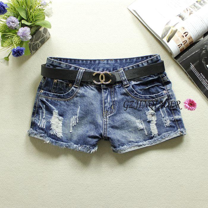 2019 Summer Blue Women's Denim   Shorts   Low Waist Hole Jeans Bleached Washed England Style Button 100% Cotton Denim   Shorts   9638