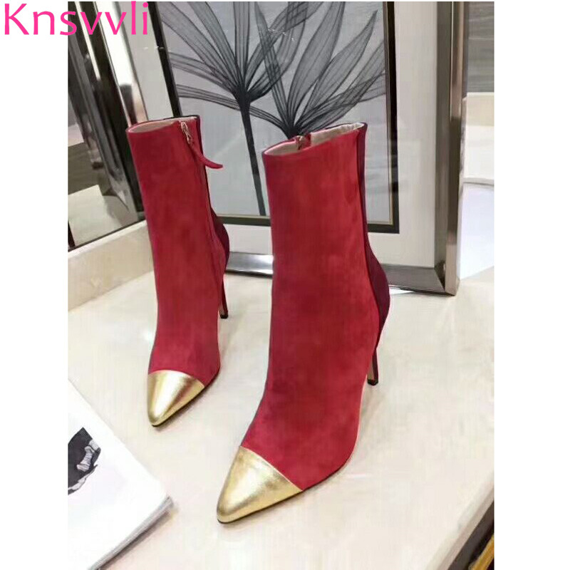 Knsvvli New Gold Pointy Toe High Heel Ankle Boots for Women Kid Suede Wine Red Stiletto Fashion Booties Mixed Color Ankle Boots xiuningyan flat black ankle boots for women kid suede short boots women female fashion low heel hademade ladies booties 2018 new