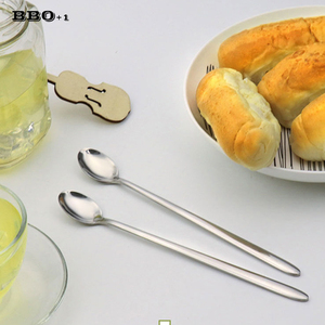 Чайная ложка из нержавеющей стали с длинной ручкой 20 см, кофейная ложка, коктейльное мороженое, чайная ложка, суповые ложки, корейский столо...
