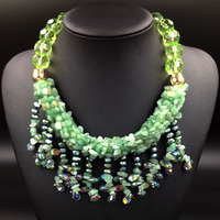 2014 Famous Brand Women Jewelry Glass Statement Bib Necklace Fashion New Design Choker Turquoise Stone Necklace