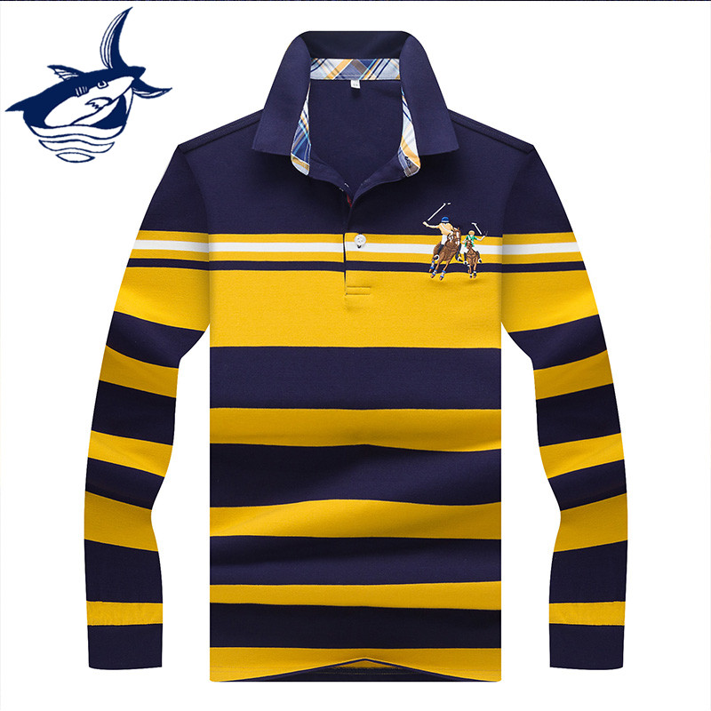 Tace & Shark Brand men's   polo   shirt Striped Casual & Business 2019 New High Quality 3D Embroidery   Polo   Shirt men Long sleeve