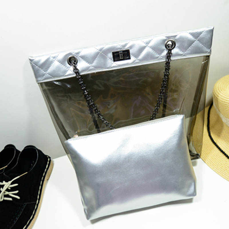 2pcs Women Transparent Bag Jelly Bags Candy Summer Beach Bag Clear Handbags Women PVC Shoulder Bags Sac Transparent Femme W444
