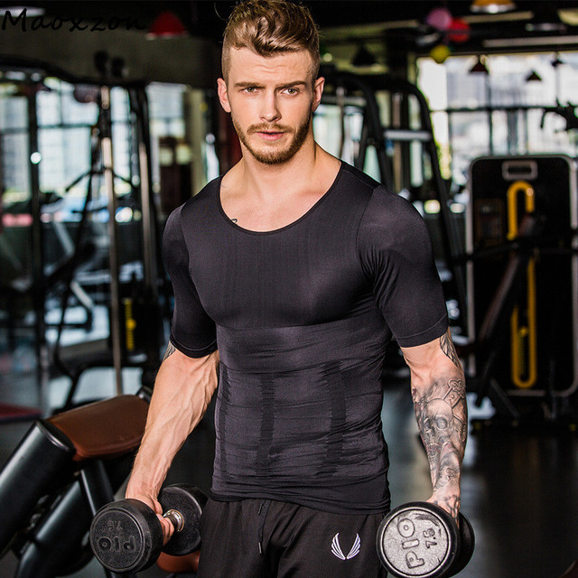 a5afec115 Maoxzon Mens Body Shapers Fitness Tops Short Sleeve Elastic Beauty  Gymnasium Abdomen Tight Fitting Shirts Slimming Underwear XL