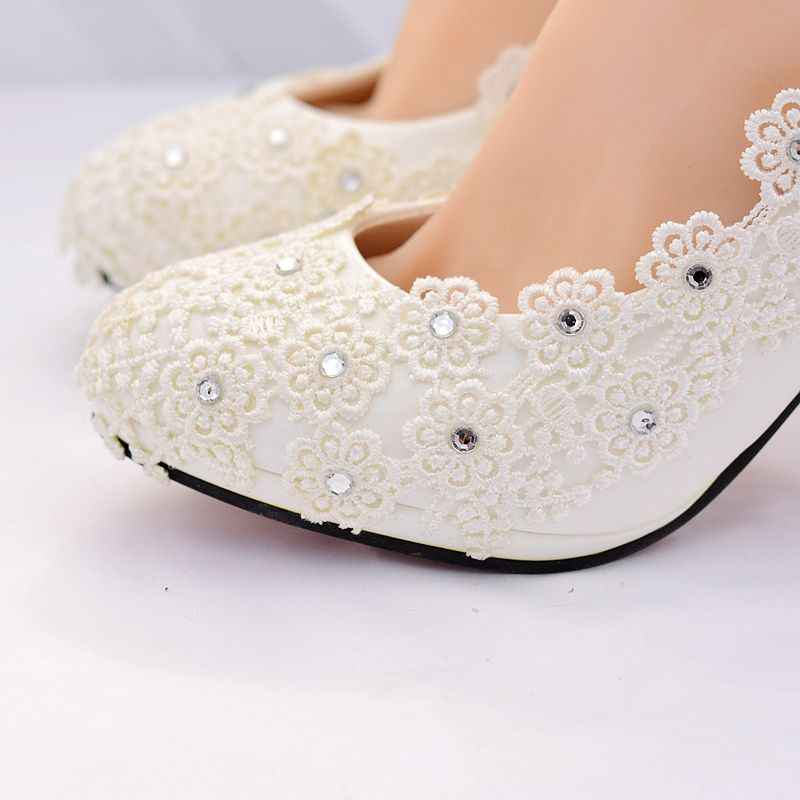 1ebc7bb0856 ... Ivory lace crystal ankle straps woman wedding shoes HS383 bride  platforms plus size 8cm 3 inch