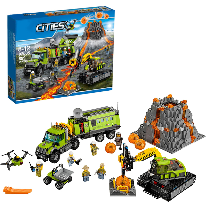 Lepin 02005 Volcano Exploration Base building bricks Toys for children Game Model Car Gift Compatible with Decool 60124 lepin 02012 city deepwater exploration vessel 60095 building blocks policeman toys children compatible with lego gift kid sets