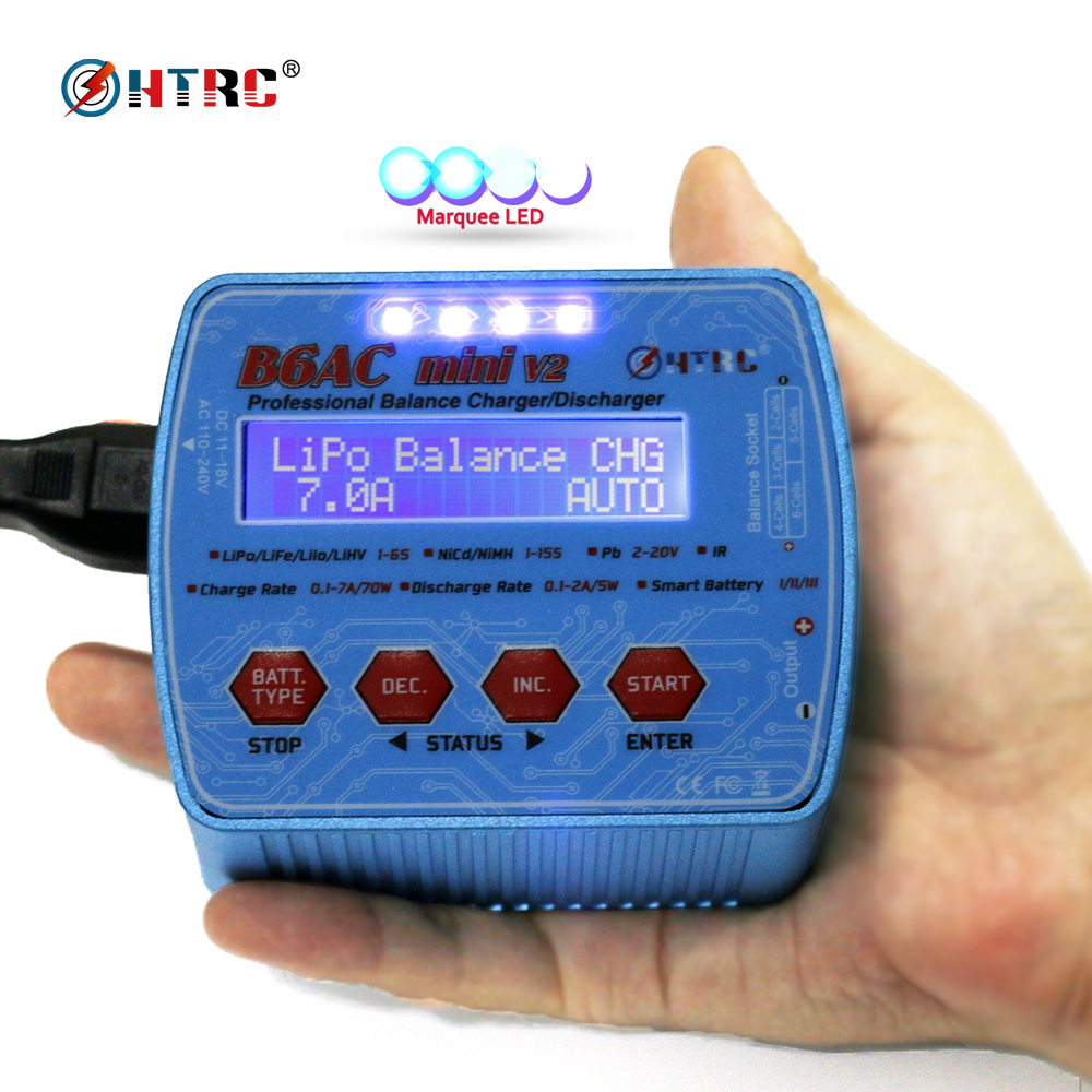 HTRC imax B6AC Mini V2 70W 7A Digital RC Model AC Balance Charger Discharger for Lipo Lihv LiIon LiFe NiCd NiMH Battery electronic key mosfet merf 3 2 for aeg guns strikeball battery protection fuse lipo lifepo4 liion nicd m4 ak47