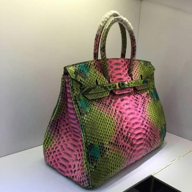 30cm Rainbow Pink Color 100 Indonesia Python Original Handbag Luxury Genuine Snake Bag Free