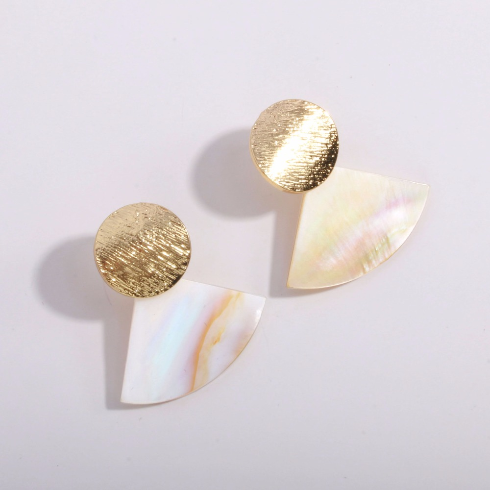 Fashion Wedding Jewelry Hanging Natural Shell Pearl Geometric Earrings High Quality Natural Shell Pendant Earrings for women P40 7