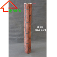 60cmX10M PVC Modern Faux Brick Wallpaper Rust Red/Brown 3D Textured Stone Paper Rolls Living Room Bedroom Home Wall Decoration