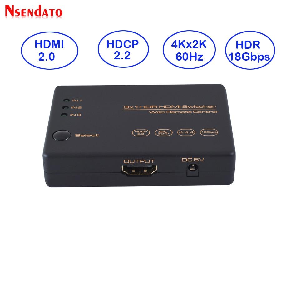 3 dans 1 Sur Splitter HDMI 2.0 HDR HDCP 2.2 3x1 HDMI Commutateur 2.0 4 k 60 hz HDMI Splitter HUB Boîte 3 Port HDMI Switcher 4 k pour PS4 Pro