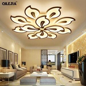 Image 1 - אקריליק מודרני תקרת אורות למיטה בסלון חדר לבן צבוע Plafond led תקרת מנורת שלט רחוק תאורת גופי
