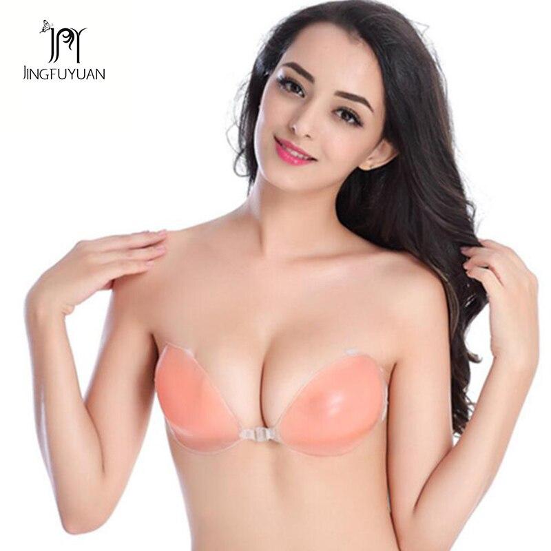 Womens Self Adhesive Bras Super Push Up Invisible Bra Seamless Backless Bra Stick on Strapless Bra
