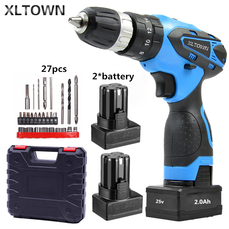 XLTOWN 25V 2000mA Impact Drill with 2 battery Rechargeable Lithium Battery Multifunction Electric Screwdriver with drill bits