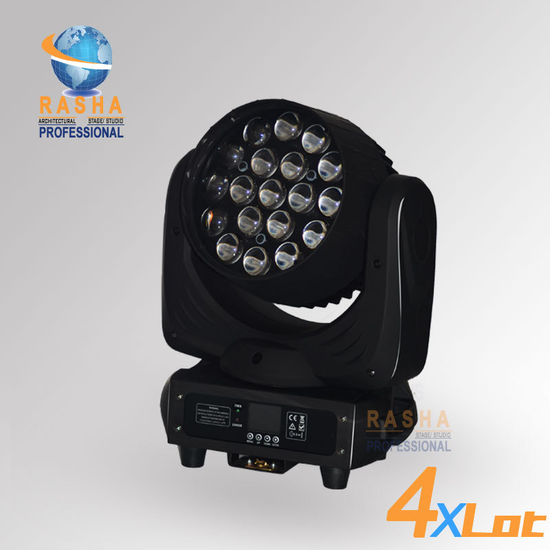 4X LOT Rasha New Arrival 19pcs*12W 4in1 RGBW LED Moving Head Beam+Wash+Zoom 3in1 With 16 Channels For Theater,TV Studio,Disco