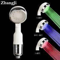 Zhangji 3 Color Water Temperature Led Shower Head Water Saving Sprinkler Sprayer SPA Nano Ceramic Filter Core Shower Head