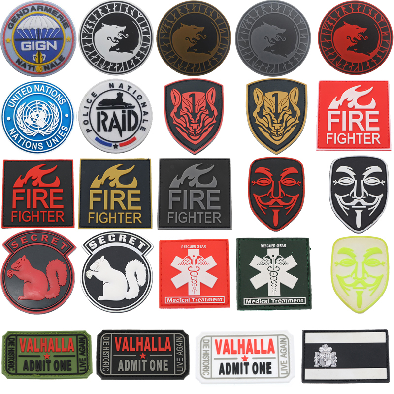 2020 New PVC Spain Flag Patch Viking Wolf Firefighter Rescuer Green Vendetta Brand Mask Honor Medal Military Badge Tactics Patch(China)