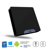 X5 Arranque Dual OS Quad Core de Windows 10 Android 5.1 Mini PC Intel Atom Z8350 Bluetooth 4.0 USB 3.0 Lan WiFi HDMI TV Box X86