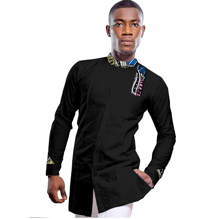 African clothing men 39 s shirt stand collar black with print dashiki tops patchwork customize for wedding wear man party outfit