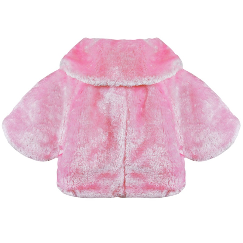 b1f4ae41cf Pink Cute Flower Girl Faux Fur Bolero Shrug Jacket Cloak Princess ...