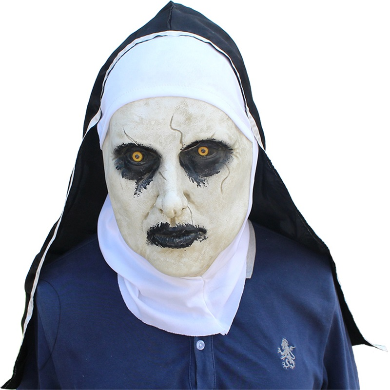 new The Nun Horror Mask Cosplay Valak Scary Latex Masks With Headscarf Full Face Helmet Halloween Party Props The Conjuring 2018 1